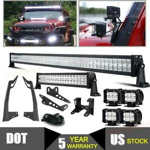 52 22 In Led Light Bar 4x 36w Pods Mounting Brackets For Jeep Wrangler Jk 50