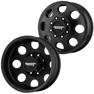 Set Of 4 16 Inch American Racing Ar204 Baja Dually 8x170 Black Wheels Rims