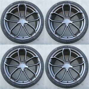Set 4 22 22x10 Wheels Tires Pkg Porsche Cayenne Turbo Ii Dark Black Touareg