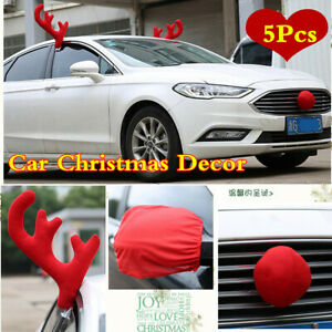5pcs Red Car Christmas Decor Reindeer Plush Antlers Nose Rearview Mirror Covers