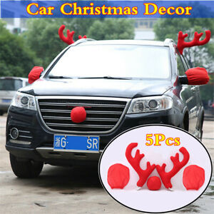 Car Christmas Exterior Styling 5set Reindeer Antlers Nose Rearview Mirror Covers