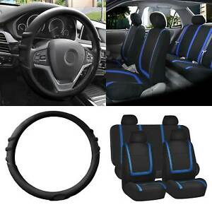 Cloth Seat Covers Full Set Blue W black Silicone Steering Wheel Cover