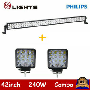 42inch 240w Led Light Bar Combo Offroad 4wd Ute Atv Lamp Ford 2x 18w Pods 40 44