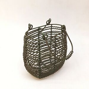Primitive French Country Metal Wire Farm Gathering Basket Handle Vtg Handmade