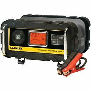 Stanley 15 Amp Battery Charger High Frequency Car Truck With 40 Amp Engine Start