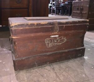 Antique Primitive Small Oxblood Wood Carpenter S Chest Trunk Tool Box Vintage