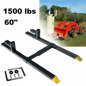 60 1500lb Clamp On Pallet Bucket Forks Loaders Tractor Chain W Stabilizer Bar