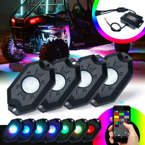 Xprite 4 Pod Rgb Led Rock Lights Underglow Offroad Music Bluetooth Truck Utv Atv
