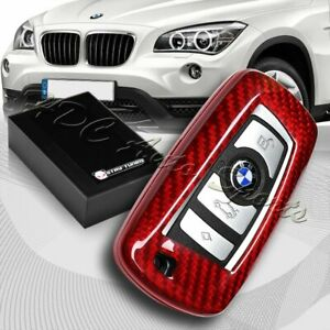 For Bmw 1 2 3 4 5 6 7 Series Real Red Carbon Fiber Remote Key Shell Cover Case