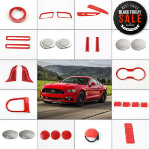 36pc Full Set Car Interior Accessories Decor Trim Kit For Ford Mustang 15 18 Red