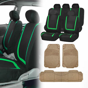 Black Green Car Seat Covers With Beige Heavy Duty Mats For Auto Car Suv