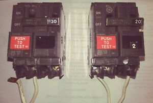 Ge Set Of 2 Electric Circuit Breakers 20 And 30 Amp 2 Pole Lead Wire Test Button