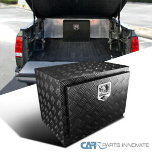 24 Heavy Duty Black Textured Aluminum Tool Box Trailer Storage Trunk Under Bed