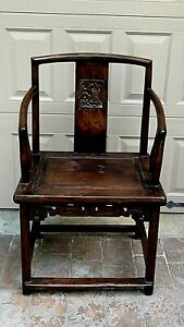 Antique 19c Chinese Elm Wood Square Arms Back Single Splat Back Armchair