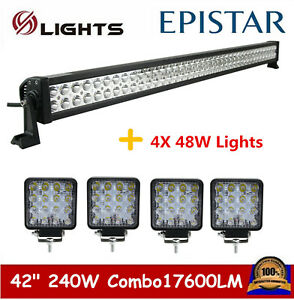 42inch 240w Led Light Bar Combo Offroad Ford Lamp Fog Suv Driving 4x 18w Pods