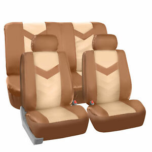 Complete Set Synthetic Leather Car Seat Covers For Auto Tan Black
