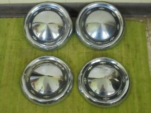 1956 Chevrolet Dog Dish Hub Caps 10 1 2 Set Of 4 Chevy 56 Hubcaps