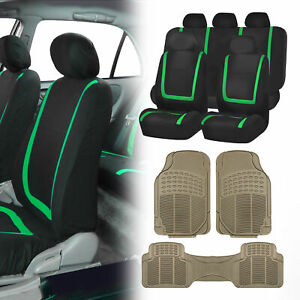Black Green Car Seat Covers With Beige Rubber Floor Mats For Auto Car Suv
