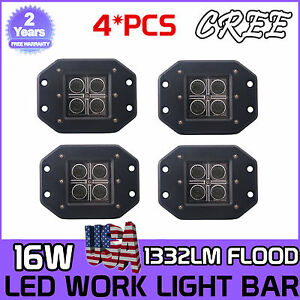 4x5inch 16w Led Flood Cube Work Lights Driving Pods Off road Atv Ute Flush Mount