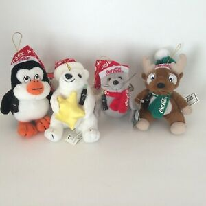 VTG 90's Coca Cola Plush Ornaments Bear Seal Penguin Reindeer Christmas Lot of 4