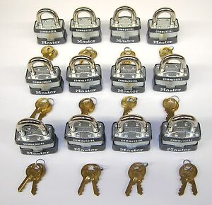 Master Lock 1ka lot Of 12 Keyed Alike Matching Identical Laminated Padlocks