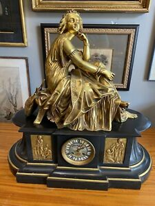 Huge 19th C French Dore Bronze Marble Figural Reclining Woman Signed Machault