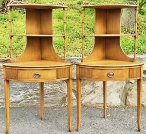 Pair Antique Flamed Mahogany Pierced Work 1 Drawer Corner Cabinets