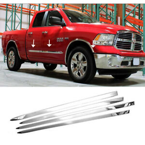 Fit 2009 2017 2018 Dodge Ram 1500 Chrome Side Moldings Stainless Steel Polished