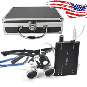 Black Dental Loupes 3 5x420mm Surgical Binocular Head Light Aluminum Case Box Us