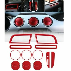 15 Pcs Red Interior Accessories Decoration Console Central Cover Ford Mustang