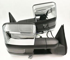 For 99 02 Silverado Sierra Towing Power Heated Chrome Mirrors Smoke Led Signal