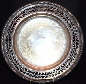Wm Rogers 811 Silverplate Silver Plate Round Ornate Serving Plate Tray 10 1 4