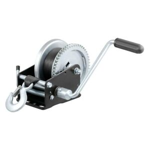 Curt 29438 1 900 Lbs Hand Winch W Strap Zinc plated Snap Hook