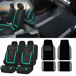 Black Green Car Seat Covers With Gray Carpet Floor Mats For Auto Car Suv