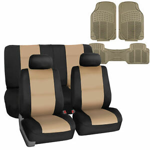 Universal Neoprene Seat Covers For Car Suv 5 Colors Combo With Beige Floor Mats