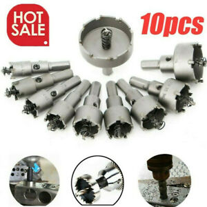 10pc Carbide Tip Tct Hole Saw Cutter Drill Bit Set For Steel Metal Alloy 16 53mm