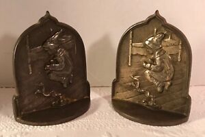 Jack Jump Over The Candlestick Cast Iron Bookends Connecticut Foundry C1930