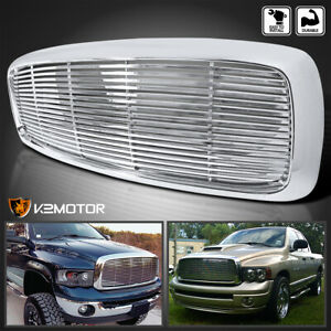 For 2002 2005 Dodge Ram 1500 2500 3500 Polished Chrome Abs Front Hood Grille