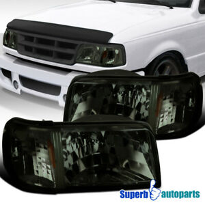 For 1993 1997 Ford Ranger 2in1 Style Smoke Headlights Corner Signal Lamps Pair