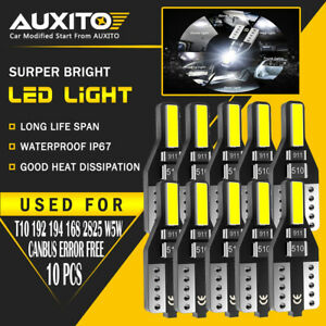 10x T10 Canbus Led License Side Marker Dome Map Light Bulbs 194 168 2825 2smd Ea