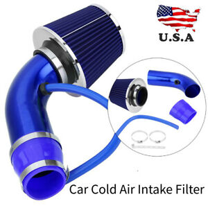 Universal 3 Inch 76mm Car Cold Air Intake Filter Induction Hose Pipe Kit Blue