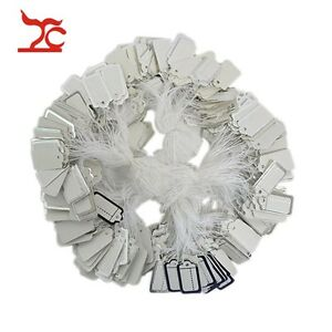 100 Pcs Strung White Paper Price Tags With Silver Line Jewelry Store Supply