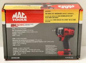 New Mac Tools Mcf891 20v Max 3 8 Drive Brushless Impact Wrench Tool Only