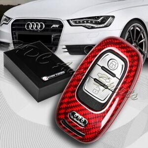 For Audi A3 A4 A5 A6 A7 A8 Real Red Carbon Fiber Remote Key Shell Cover Case
