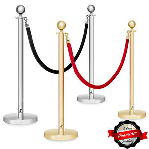 Set Of 2 Ball Top Stanchion Post 6 5 Velvet Rope Queue Crowd Control Barrier