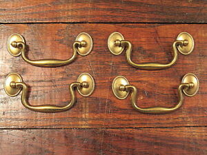 4 Vintage Brass Drop Bail Style Drawer Pulls Handles Nos 3 1 2 Center To Center