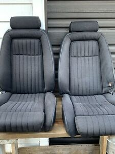 1987 93 Ford Mustang 5 0 Grey Tweed Interior Front Seats Foxbody Fox Body