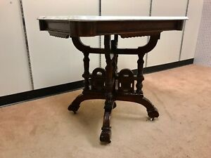 Large Ornate Walnut Victorian Marble Top Center Table Ca 1880