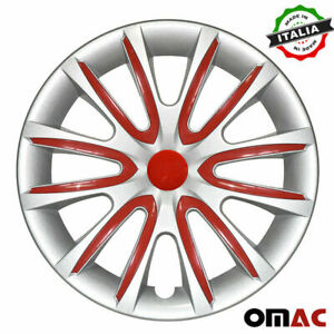 15 Inch Hubcaps Wheel Rim Cover For Toyota Gray With Red Insert 4pcs Set