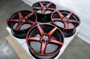 17 Wheels Fit Sedona Soul Forte Sonata Civic Accord Fusion Black Red Rims 5 Lug